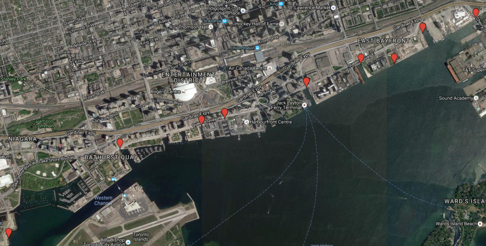 Red markers indicate each combined sewer overflow in Toronto's harbour.