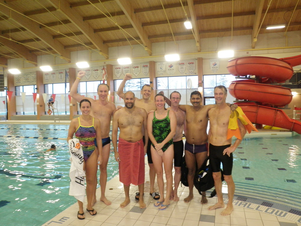 Madhu with fellow marathon swimmers. (Photo via  L.O.S.T. Swimming )