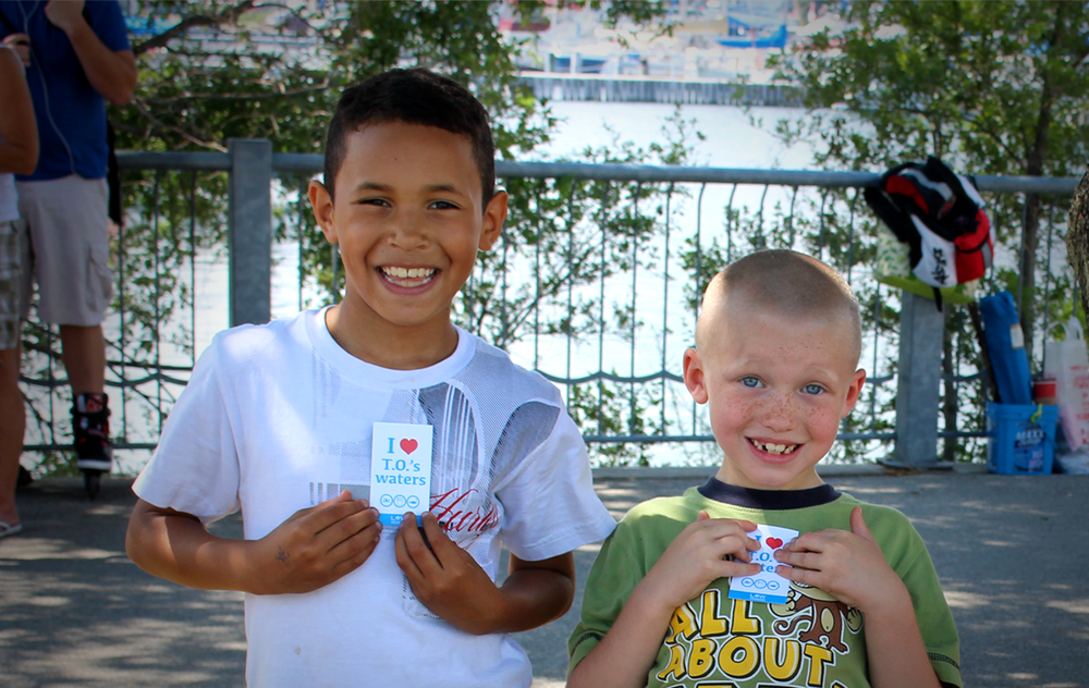 Young recreational water users sharing their love for Toronto's waters. (Photo by Lake Ontario Waterkeeper)