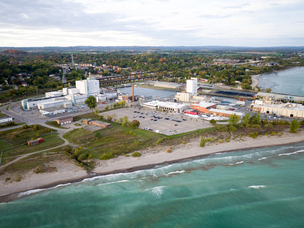 Cameco's Port Hope Conversion Facility located between the 401 and the lake. (Photo by Dylan Neild)