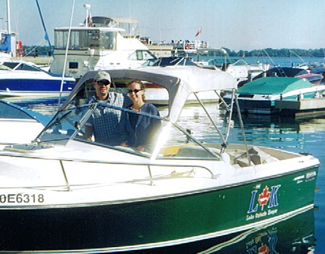 Old photo from the archive. Mark Mattson and Krystyn Tully aboard the Angus Bruce. (Photo by Lake Ontario Waterkeeper)
