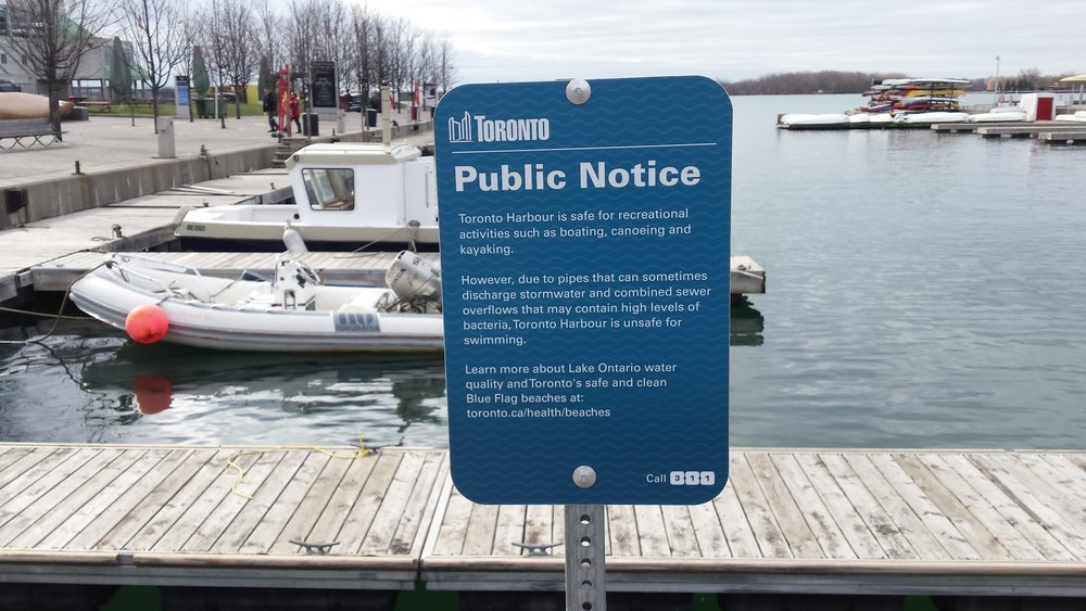 Sign out front of slip east of HTO Park, one of our sampling sites. Photo by: Lake Ontario Waterkeeper.