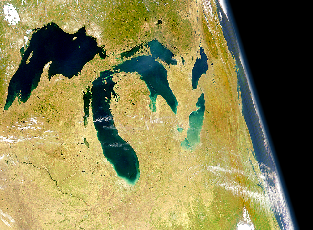 The Great Lakes, as seen from space by a NASA satellite. Credit: SeaWiFS Project, NASA/Goddard Space Flight Center, and ORBIMAGE