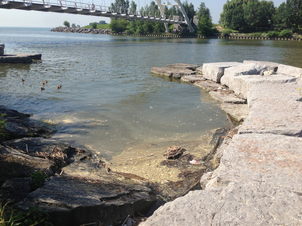 Sewage piles up near the mouth of the Humber River. July, 2013. Photo by Lake Ontario Waterkeeper.