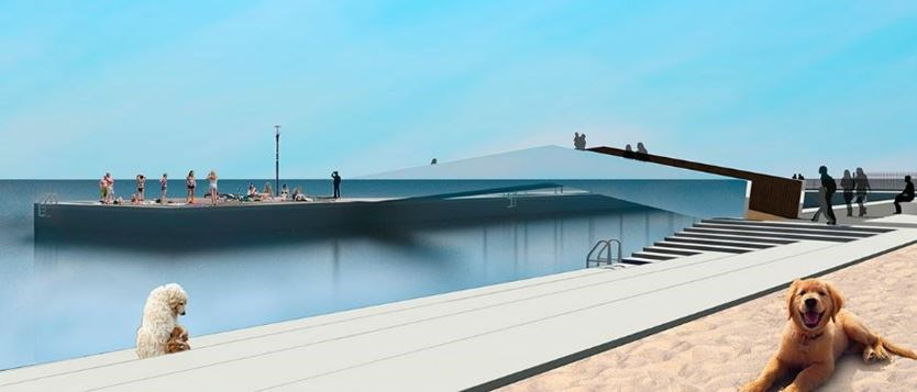 Concept drawing of Breakwater Park sandy beach area and bridge to Gord Edgar Downie Pier