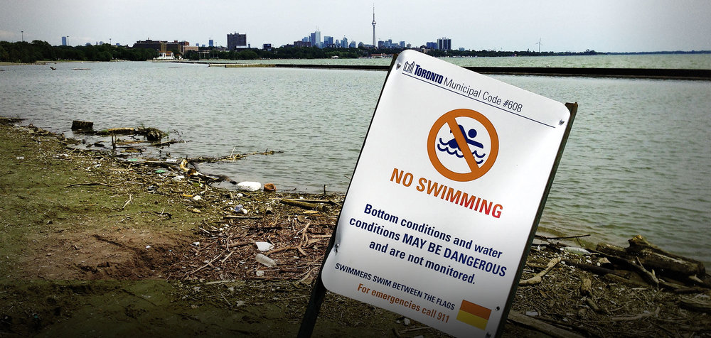 Sewage streams into Lake Ontario
