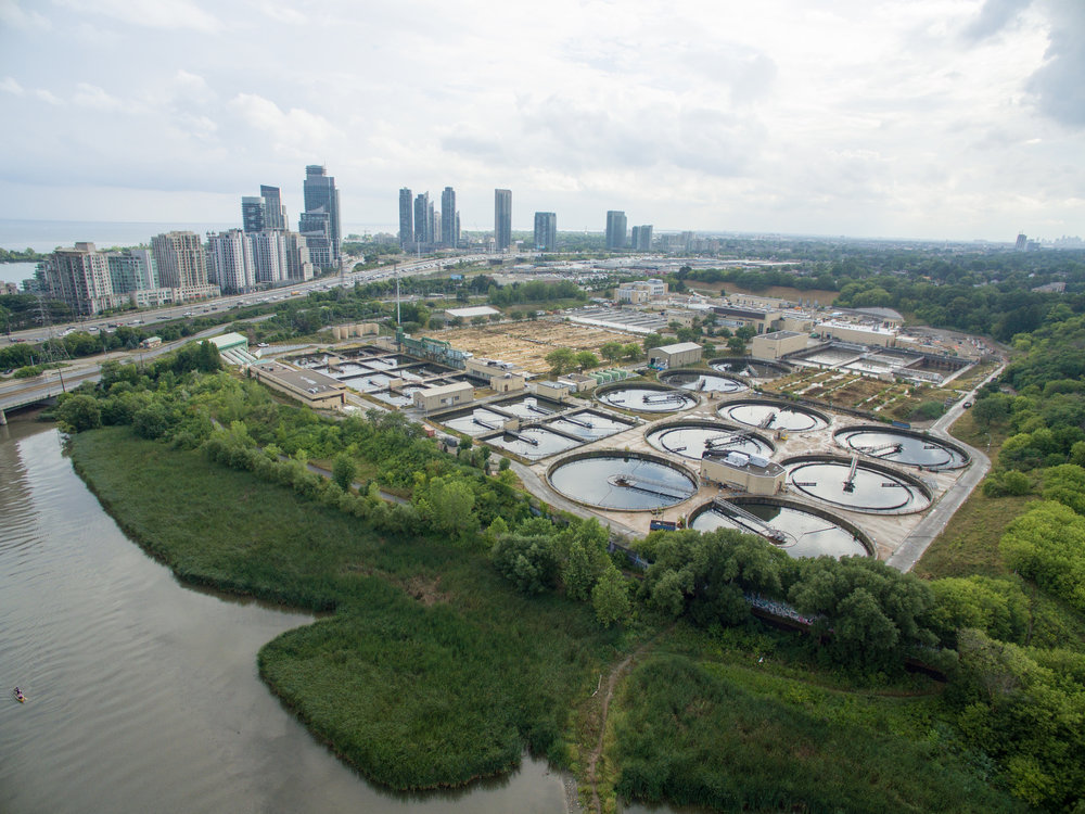 Aerial view of Humber Bay Treatment Plant after a rainstorm.