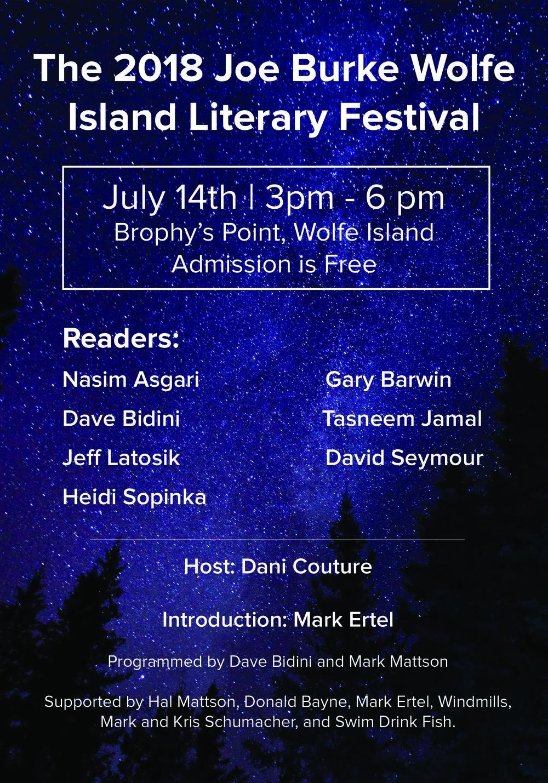 Joe Burke Wolfe Island Literary Festival