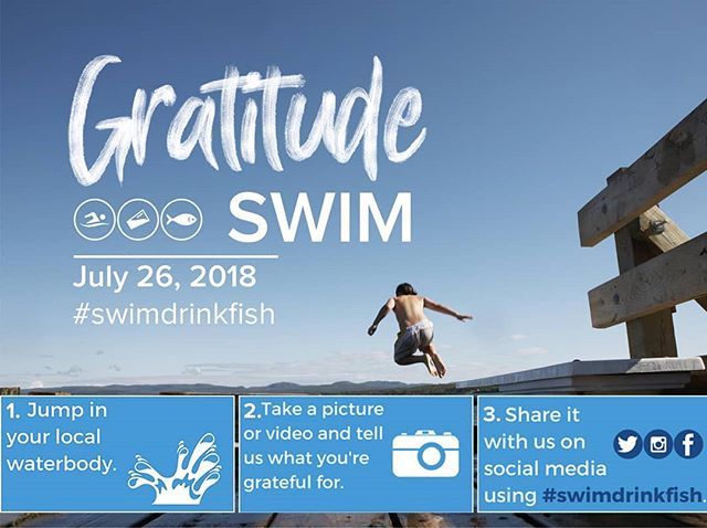 Today's the day. -  Join the Swim Drink Fish movement for a Gratitude Swim from wherever you are. Jump in your local waterbody, take a picture and tag it with #swimdrinkfish telling us what you're grateful for. - Today we celebrate our Gratitude Swim from the new Gord Edgar Downie Pier in Kingston, Ontario. - We are grateful for all YOU do for swimmable, drinkable, fishable waters.💙
