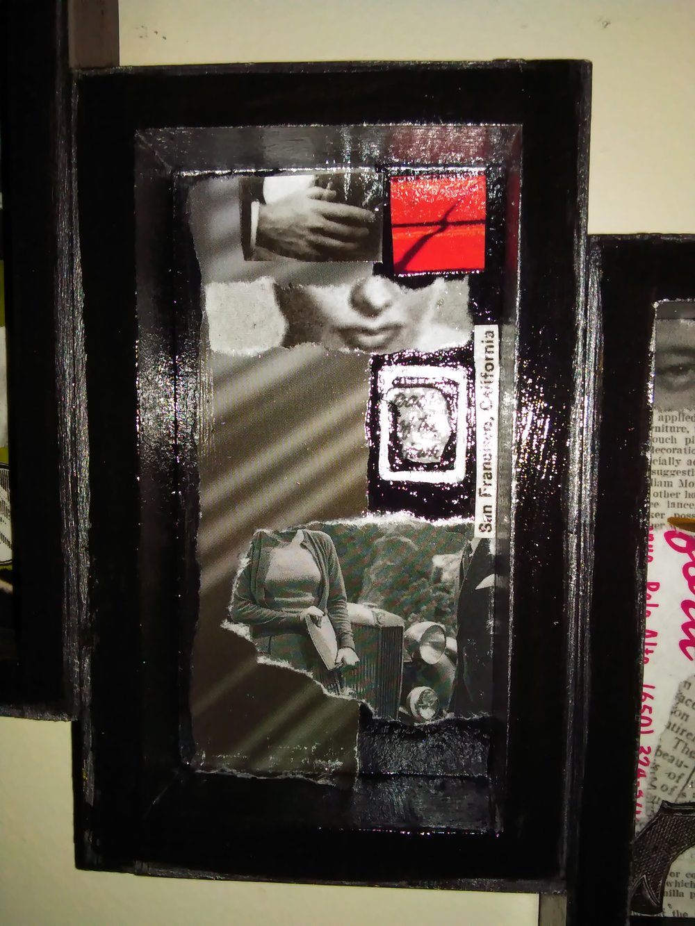 Detail: Noir tryptych shadowbox