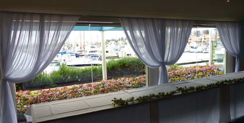 A simple white drape to show off the view.