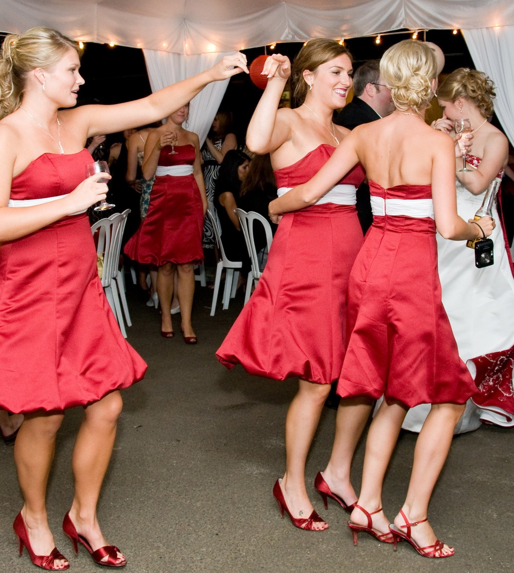 And here they are having a great time at our wedding reception. I could party with these girls for hours. HOURS. (And then I'd fall asleep)