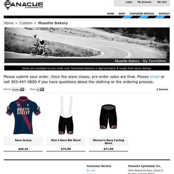 We're thrilled announce that Musette kits are now available for pre-order at http://www.panachecyclewear.com/custom/musette-bakery.html!  A huge thanks to the talented team @panachecycle - we can't wait to see these out on the road.