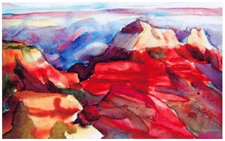 Watercolor of Grand Canyon, Everett Ruess