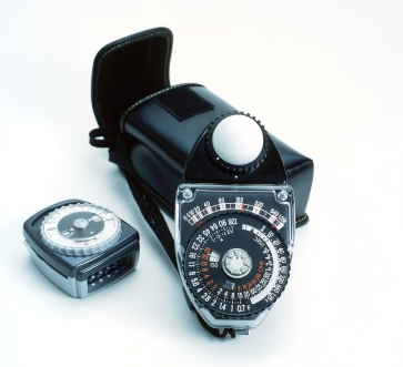 A vintage light meter. An old school way of measuring light to determine your best shutter speed and aperture combination.