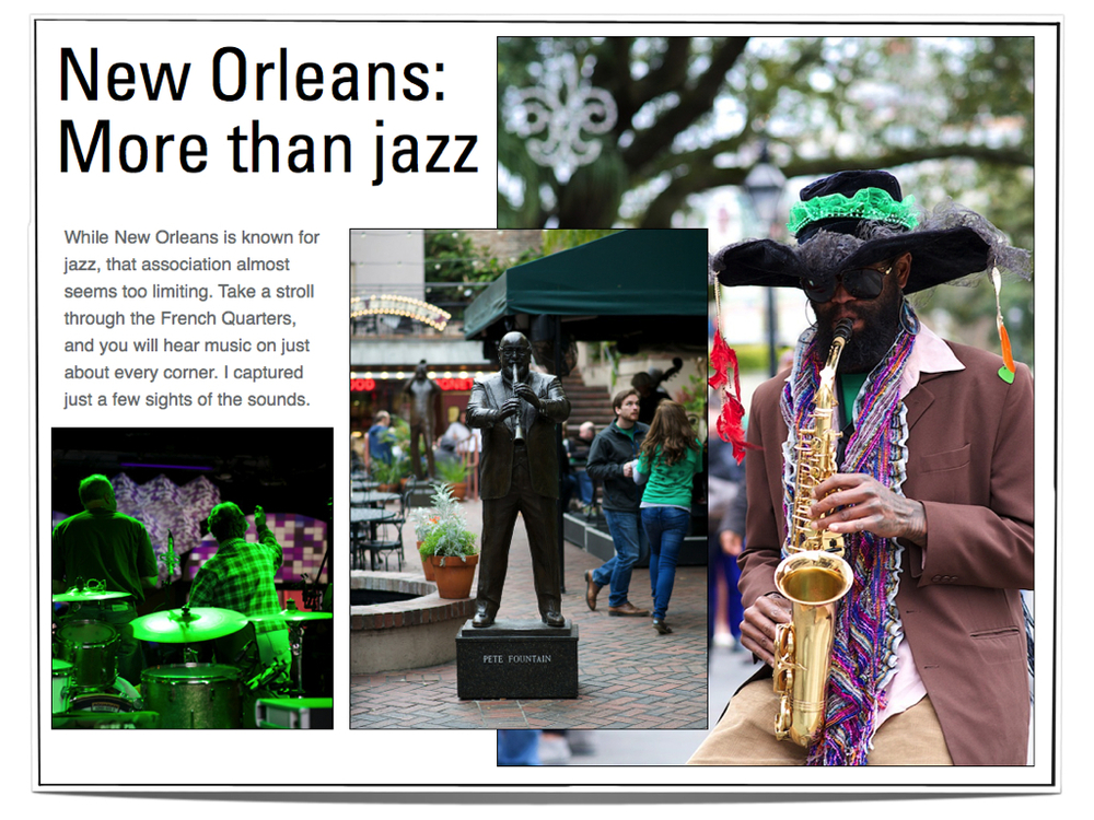 Here's an example of a music theme in New Orleans.