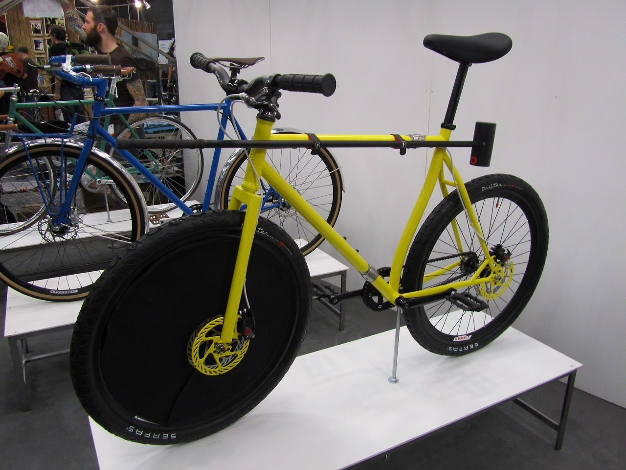 Sweet looking bicycle hockey bike. Not sure how long those discs will stay yellow though…