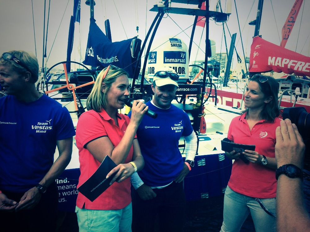 Laia and I interviewing Nico, Skipper Team Vestas Wind. Alicante