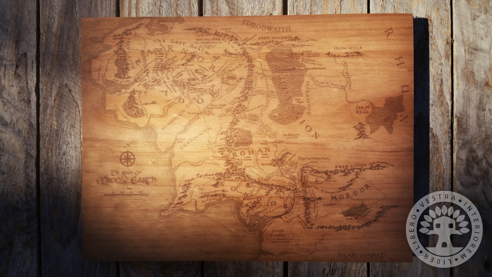 The Lord of the Rings Map of Middle Earth Woodblock Art