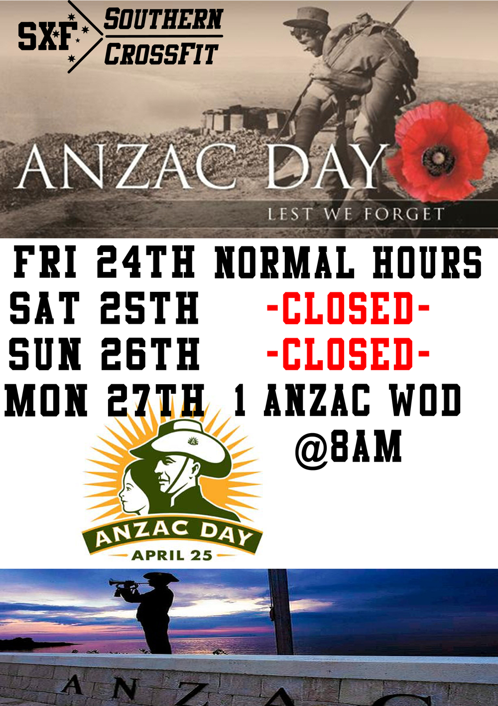 opening hours anzac day - photo #16