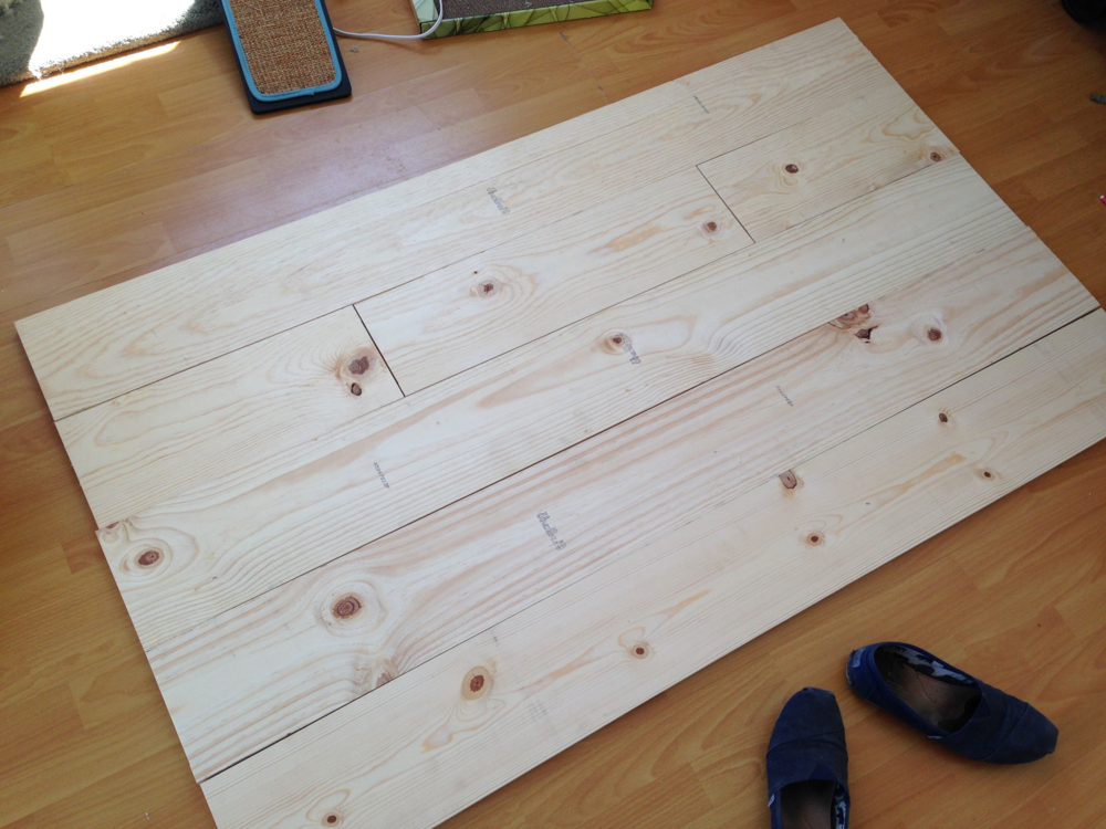 "Boards cut down to 62"" with one board subdivided into 2x19"" pieces and 1x24"" peice"