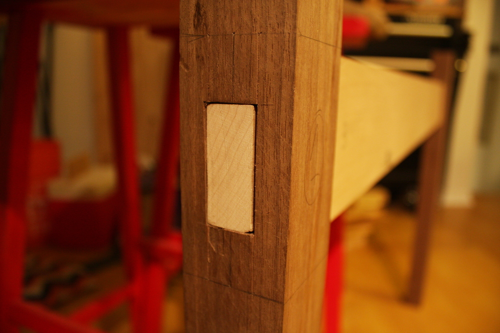 Uggghhhh.  It's fiiiiine, I guess.  That little gap on the right and at the corners is driving me crazy.  Also that I over-marked the width with the marking gauge meaning now I have a lot of planing and sanding to get it out.  What's so crazy is that even with all of the sloppiness (ok, it's not so bad, but it could definitely be better), it's an exceedingly solid joint.
