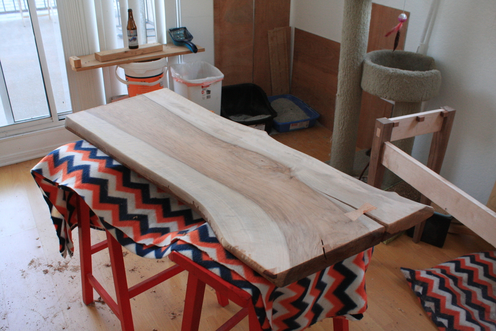 Desk surface prior to any finish