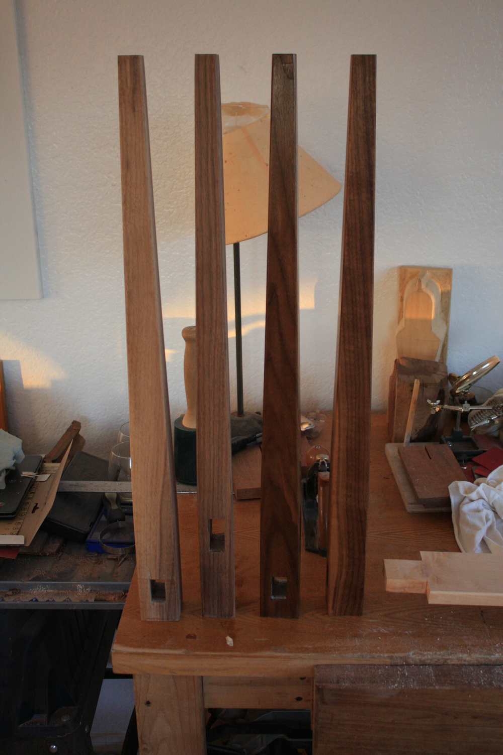 Prepped legs on the left, completely finished legs on the right.