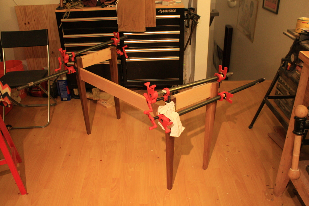 Final glue up of the base!  Clamped for the night.