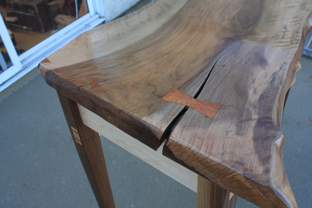 Detail of the dovetail keys, patch, and wedged tenon.
