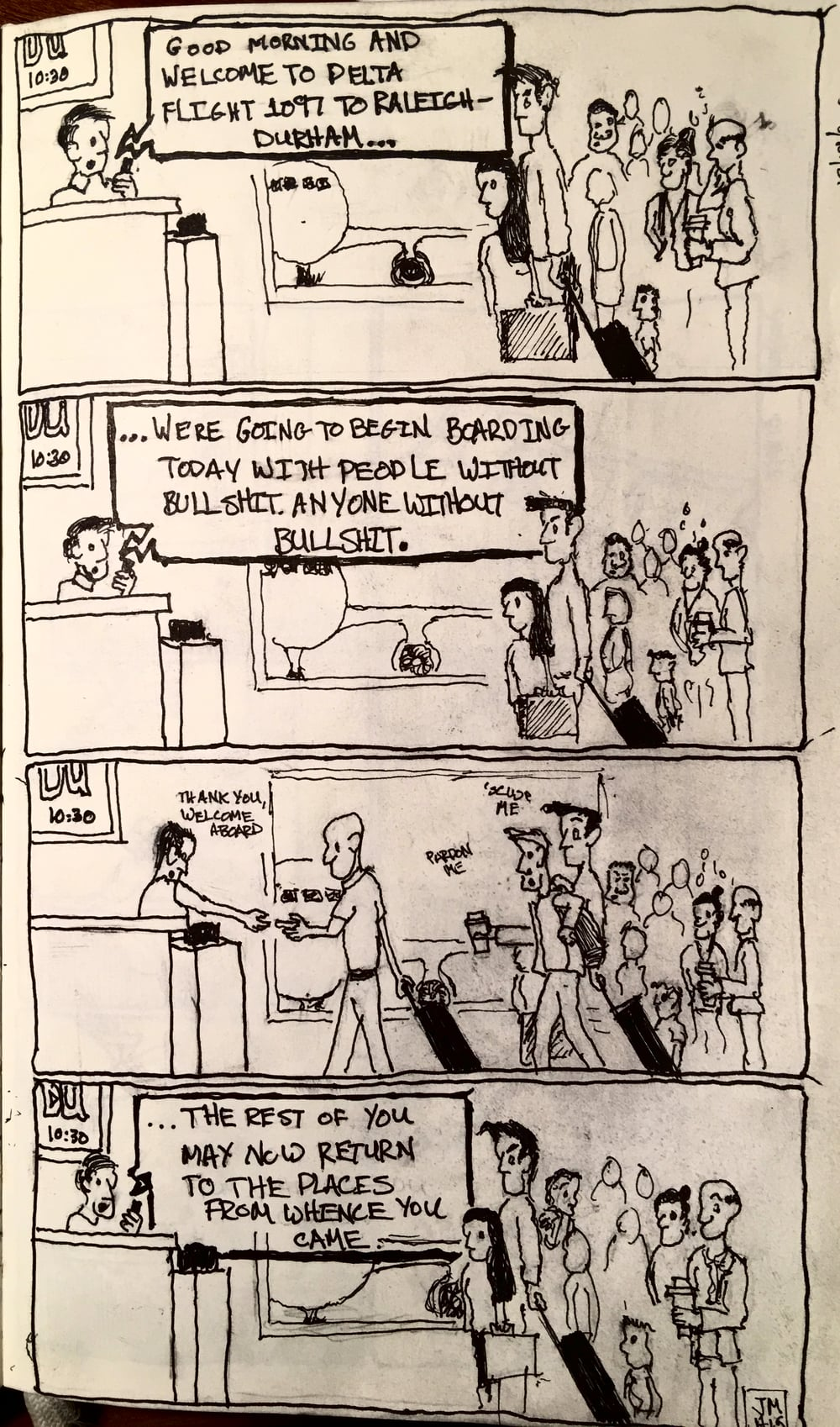 Holiday comics: The moral here is that most people on airplanes are garbage people.