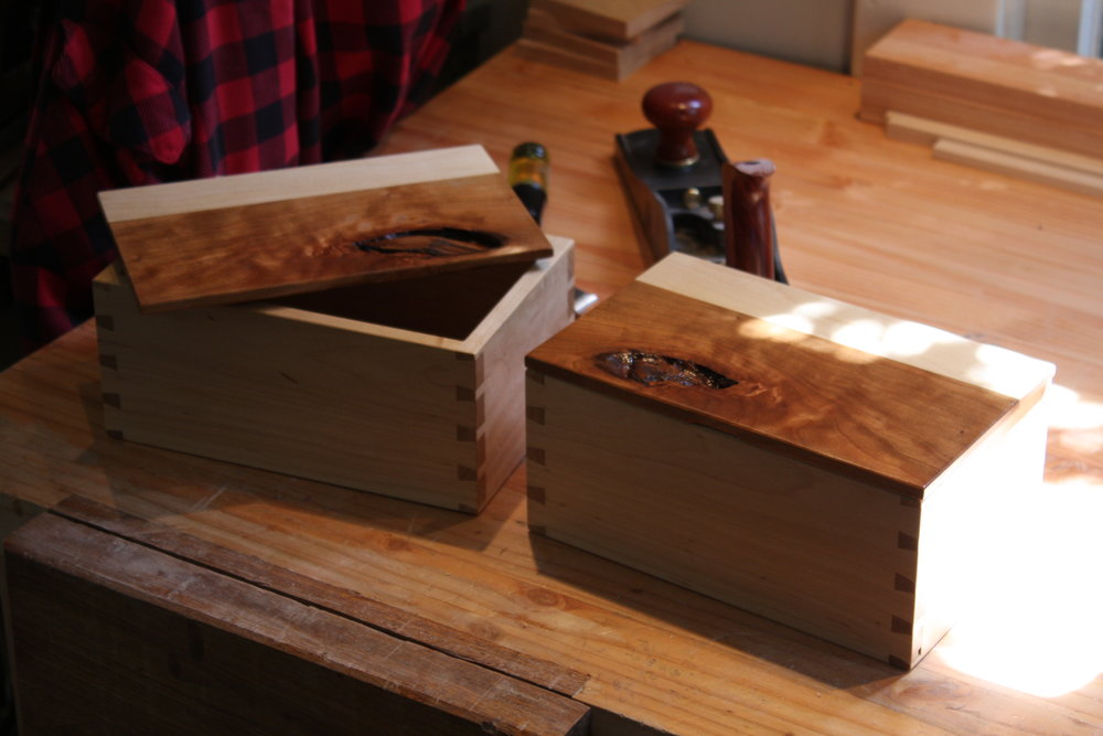 Bookmatched boxes for Mom and Dad.