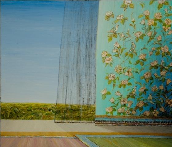 Flowers and Birds(turquoise) - Fleurs et Oiseaux(turquoise), 2010, 60x70cm, oil on canvas - huile sur toile, sold - vendu