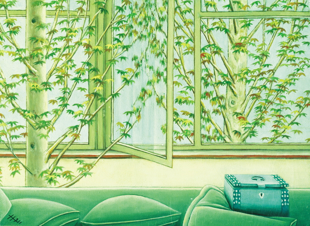 Plane Trees and Windows - Platanes et Fenetres, 1991, 30x25cm, oil on canvas - huile sur toile, sold - vendu