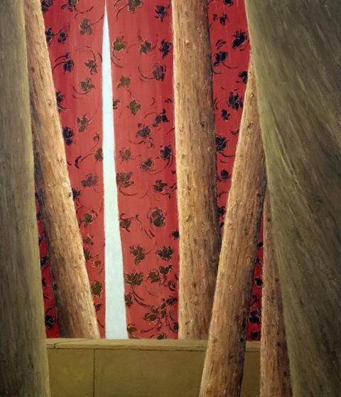 Red Curtains - Rideaux Rouges, 2005, 60x70cm, oil on canvas - huile sur toile, sold - vendu