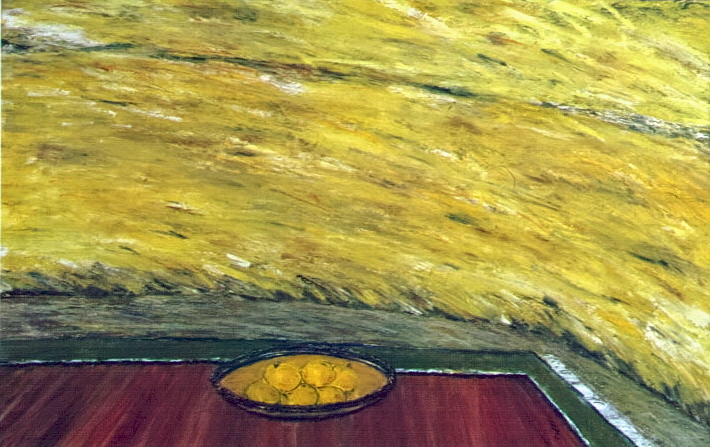 Wheat Fields with Apples - Champ de Ble aux Pommes, 2001, 40x60cm, oil on cardboard - huile sur carton, sold - vendu