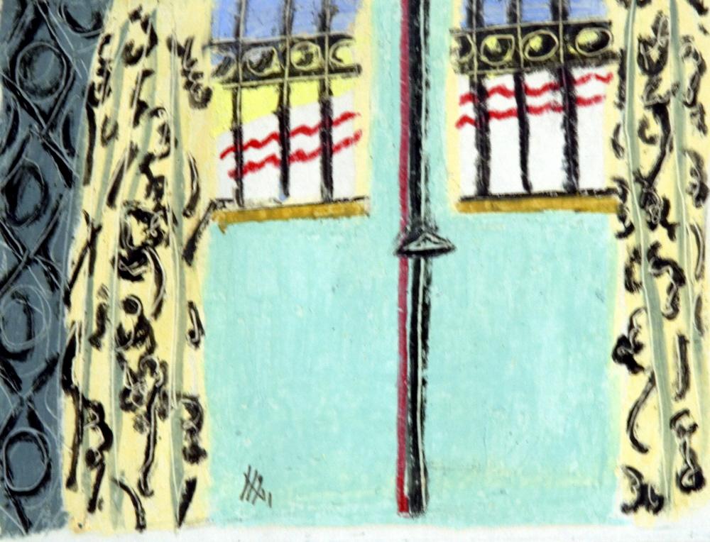 Yellow Curtains-Rideaux Jaunes, 1996, 25x35 cm, oil pastel on papier-pastel gras sur papier, sold-vendu
