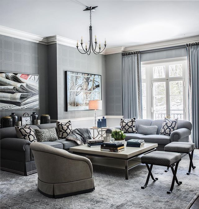 We can't get enough of this room we designed in a gorgeous Greenwich home, featured this month in @cottagesgardens 🖤 Photo @landinophoto #designersyoushouldknow #greenwichstyle #rinfretltd