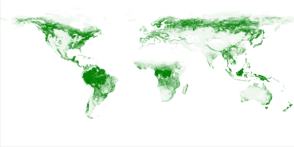 Figure 5. Global tree cover is determined by precipitation patterns.