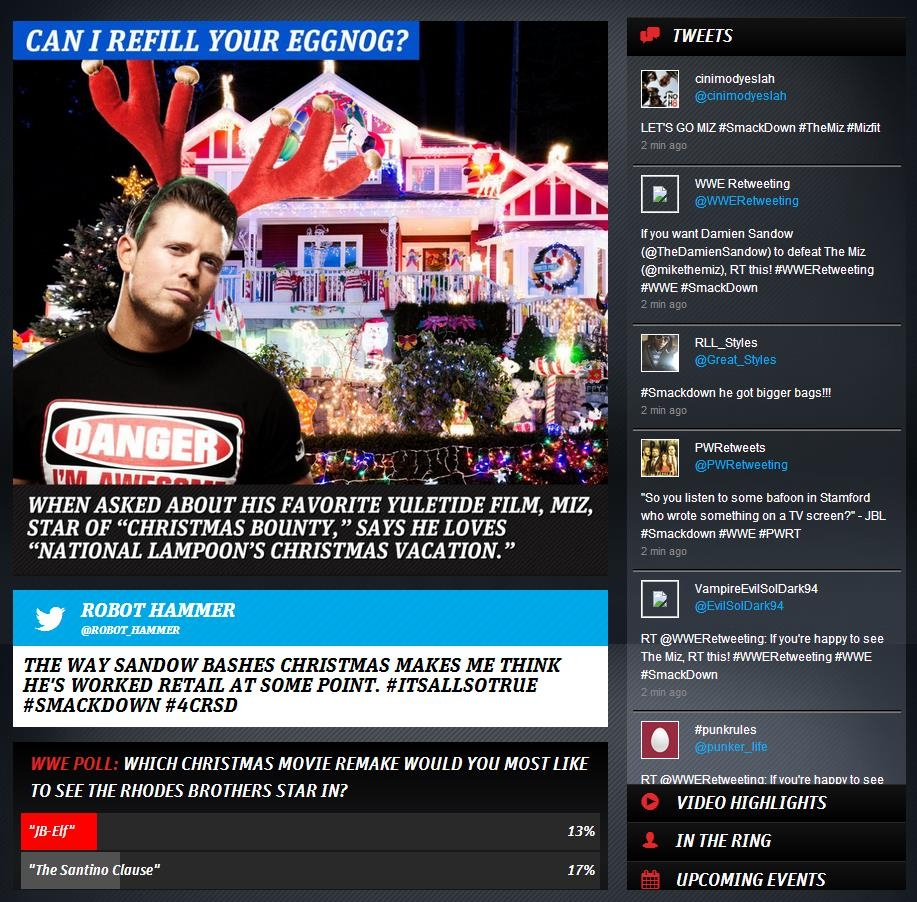 A look at the WWE App Second Screen layout (taken from WWE SmackDown, Dec. 20, 2013)