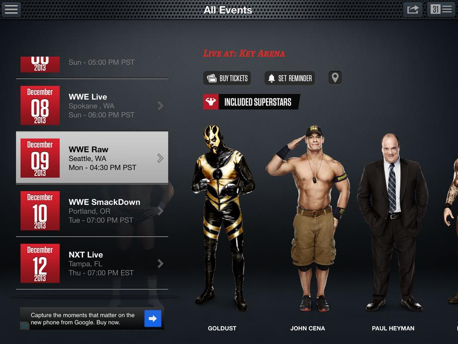WWE App: Events & Tickets