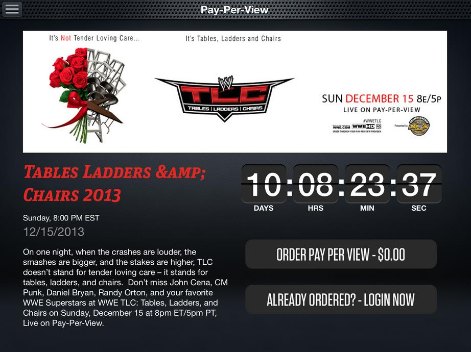 WWE App: PPV Ordering Screen