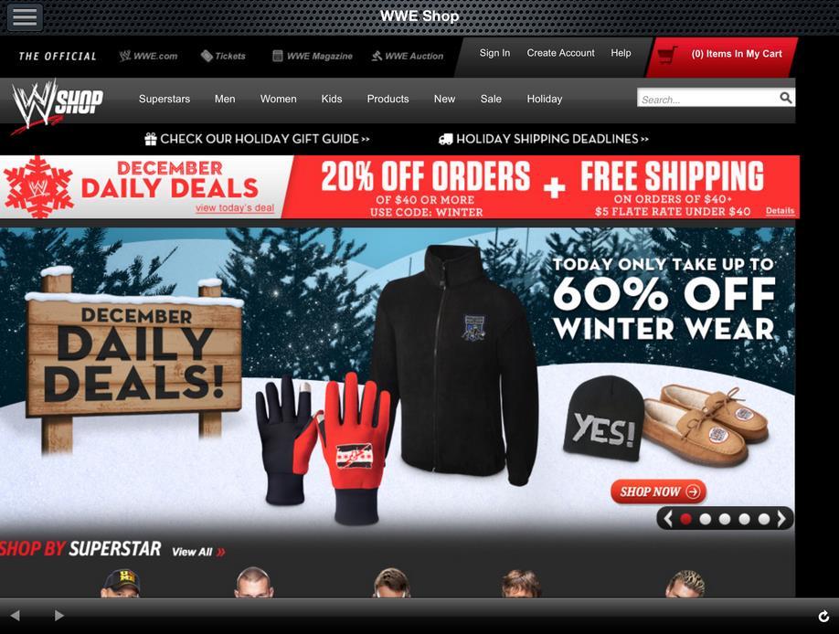 WWE App: WWEShop Merchandise