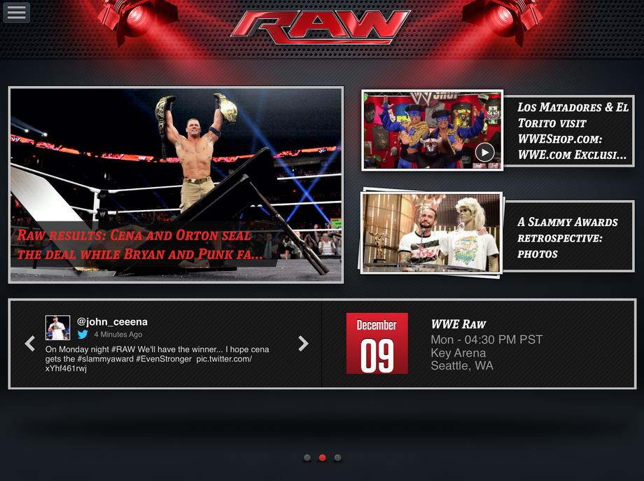 WWE App: WWE Raw front page