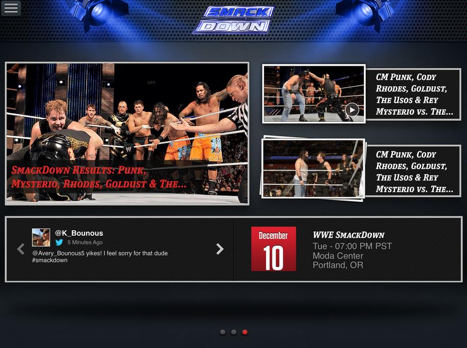 WWE App: WWE SmackDown Home Screen