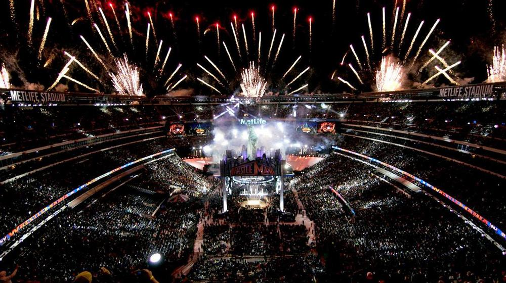 Fireworks explode around MetLife Stadium April 7, 2013 at WWE WrestleMania 29.