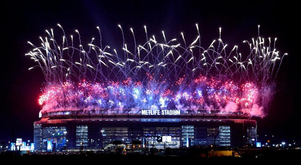 MetLife Stadium is engulfed in fireworks at WrestleMania 29.