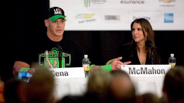 John Cena speaks on a social media strategy and engagement panel with WWE EVP Stephanie McMahon at South By Southwest 2014.