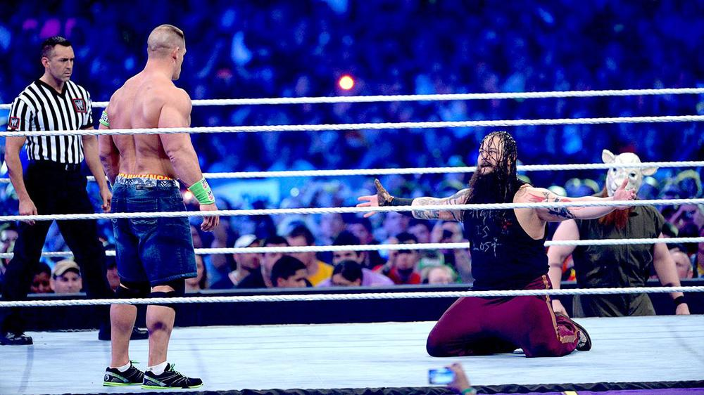 One of WWE WrestleMania 30's most-social moments: John Cena faced nemesis and tormentor Bray Wyatt in an emotional confrontation.