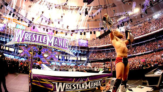 WWE Superstar Daniel Bryan wins the WWE World Heavyweight Title at WrestleMania 30 at the Mercedes-Benz Superdome in New Orleans April 6, 2014. WrestleMania 30 was WWE's most socially active one-day event in company history.